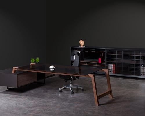 Petrus Glass Walnut Table Set